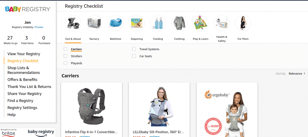Amazon Baby Registry - Checklist